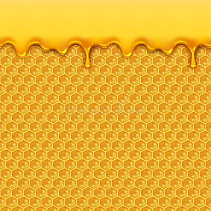 Liquid honey pattern. Bee honeycombs and honey drops syrup natural yellow product seamless vector background vector illustration