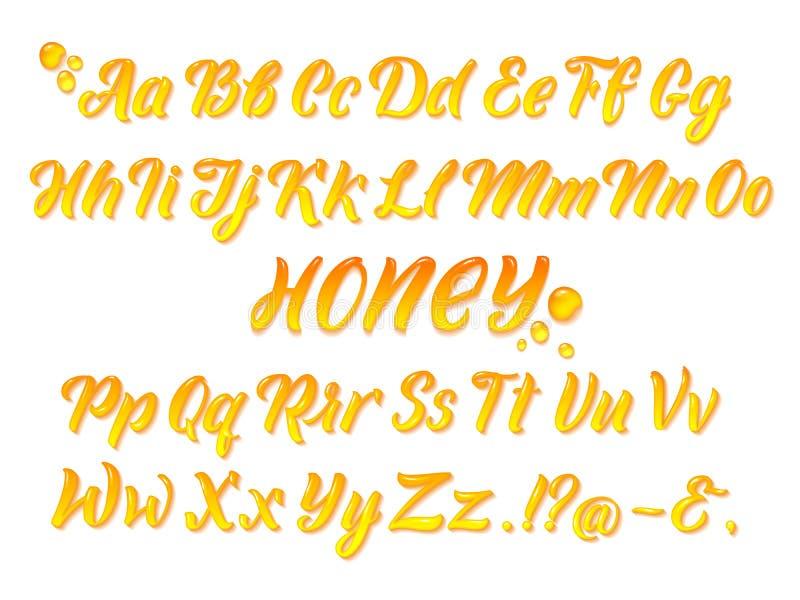 Liquid honeyed latin alphabet with gold splashes. Hand writing yellow letters vector set stock illustration