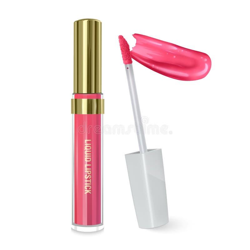 Liquid lipstick, Lip glans i elegant flaska, sluten behållare med pensel och utstryk av läppstift på vit bakgrund, kan användas vektor illustrationer