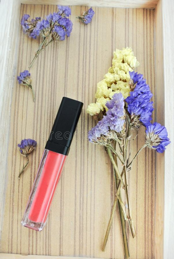 Liquid lipstick, Lip gloss in elegant glass bottle with black lid, closed and open container with brush stock image