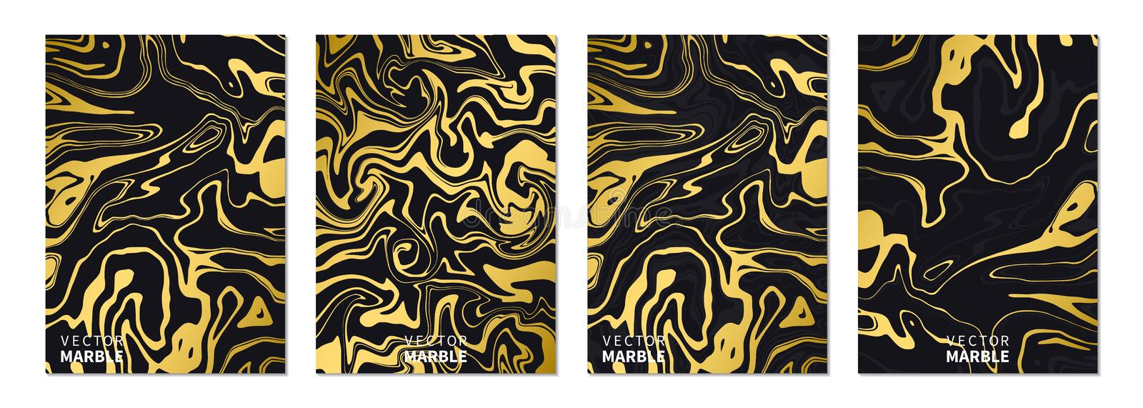 Liquid marble texture in gold. Vertical banners set with abstract background. Golden dynamic fluid art splash. Vector royalty free illustration