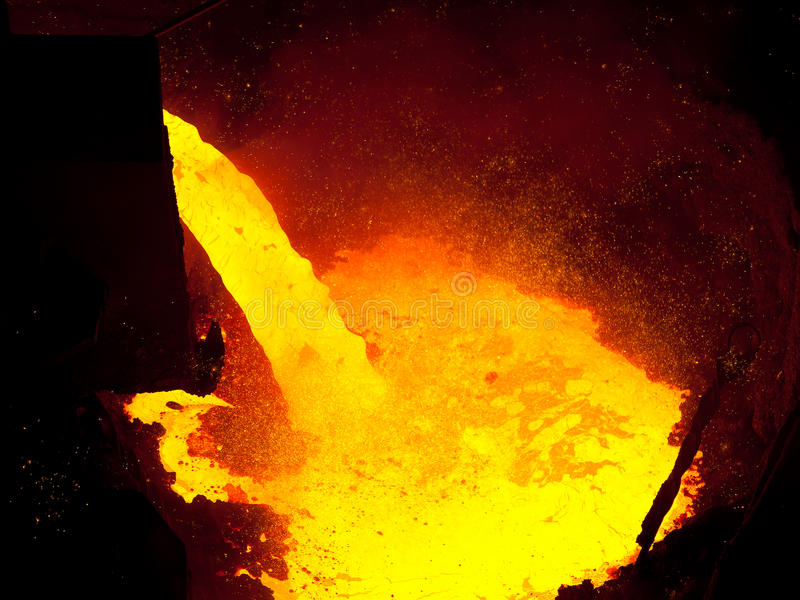 Liquid metal from blast furnace stock photos