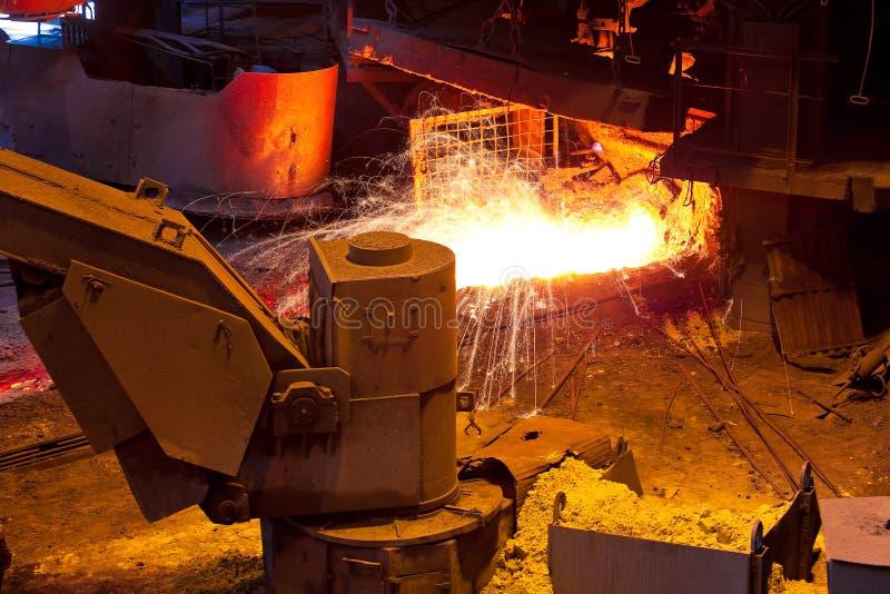 Liquid metal from blast furnace. At metallurgical plant workshop stock photos