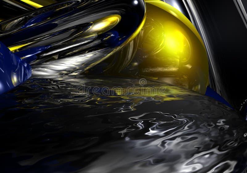 Liquid metal in yellow light stock images