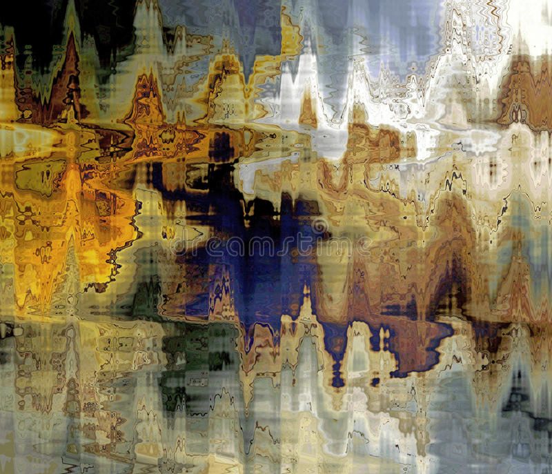 Liquid Reflections Abstract. A rippled stormy water autumn colors reflections abstract royalty free stock images