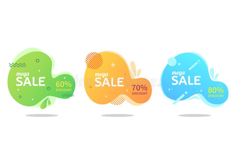 Liquid sales banner collection royalty free stock photos