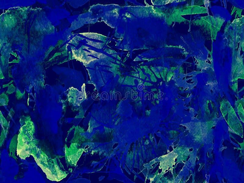 Liquid seamless pattern. Blue watercolor brush stroke grunge tile. Watercolour abstract splash paint design. Hand drawn ink blots. Dirt splat pattern. Liquid royalty free stock photography