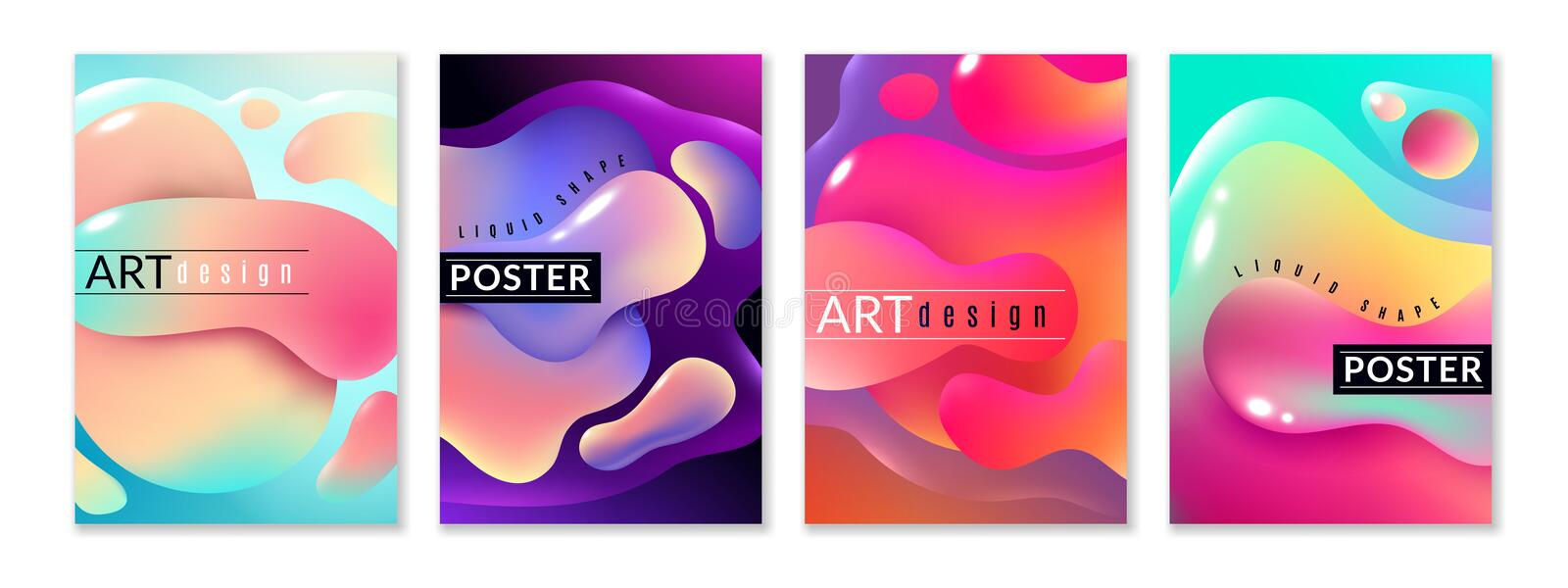 Liquid shape poster. Abstract fluid free shapes color flux minimal paint spots dynamic forms graphic modern background royalty free illustration