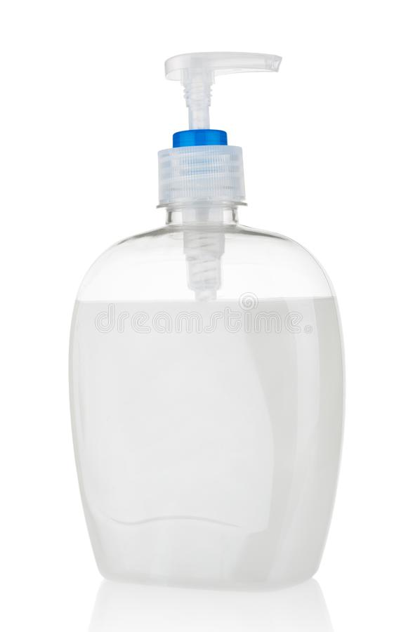 Liquid soap in plastic bottle  on white background stock photography