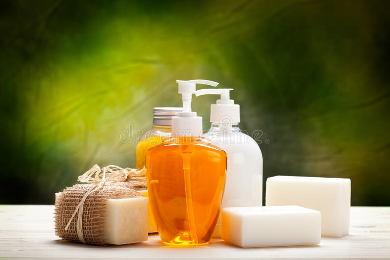 Liquid soap and soap bars royalty free stock images