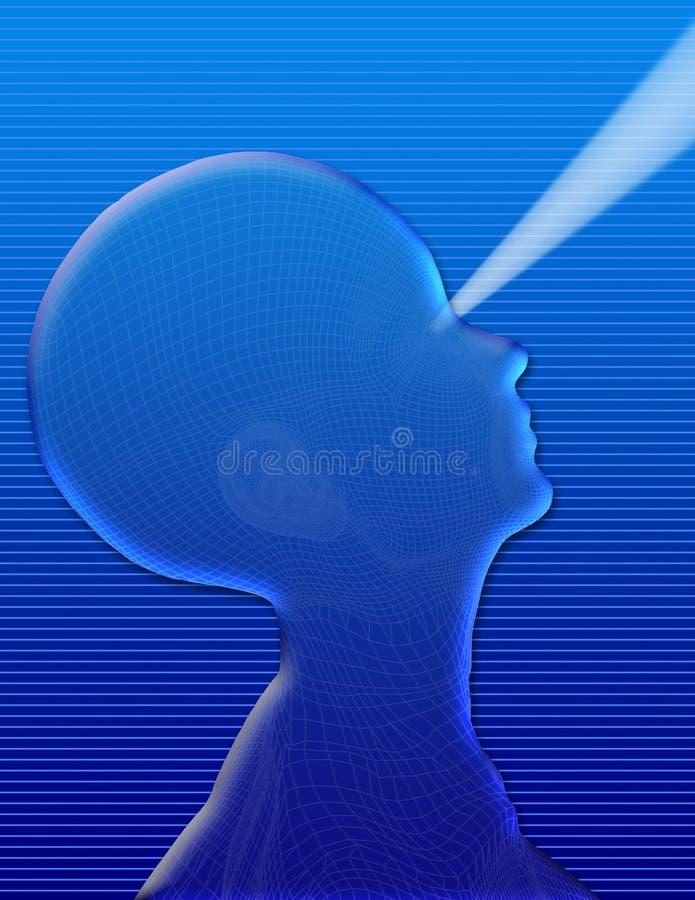Liquid Vision. Liquid or gel tech head silo with beam vector illustration