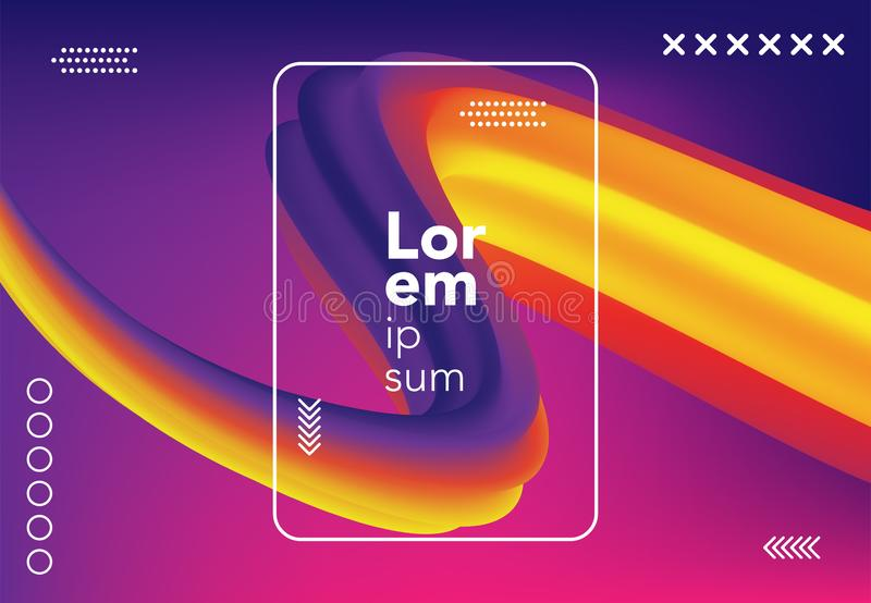 Liquid wave background. colorful 3d flow shape. abstract fluid gradient composition for banner, poster, cover. vector illustration stock illustration