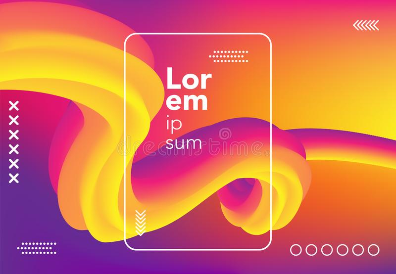 Liquid wave background. colorful 3d flow shape. abstract fluid gradient composition for banner, poster, cover. vector illustration. Template royalty free illustration