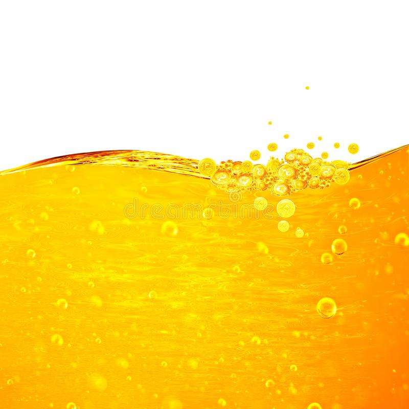 Liquid yellow wave line. Gold bubbles of air. stock photography