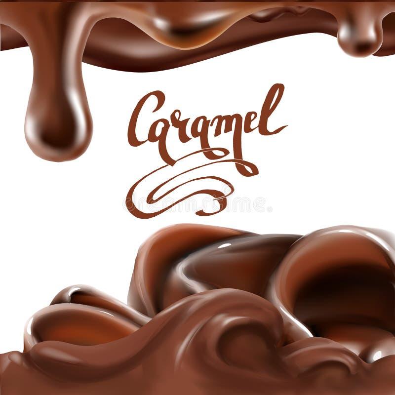 liquide illustration de chocolat, de caramel ou de cacao illustration stock