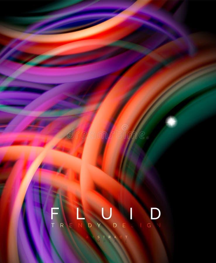 Liquide lissez le fond abstrait de vague, le concept rougeoyant débordant de mouvement de couleur, calibre abstrait à la mode de  illustration de vecteur