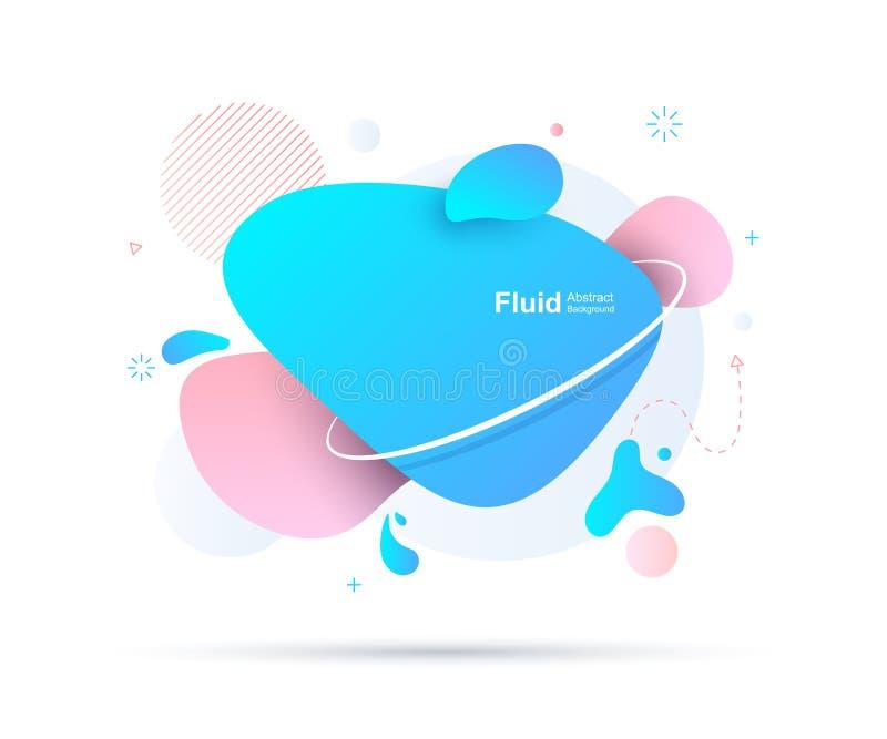 Liquido astratto ed elementi moderni Forme e linea colorate dinamiche Forme organiche di pendenza variopinta fluida Illustrazione illustrazione di stock