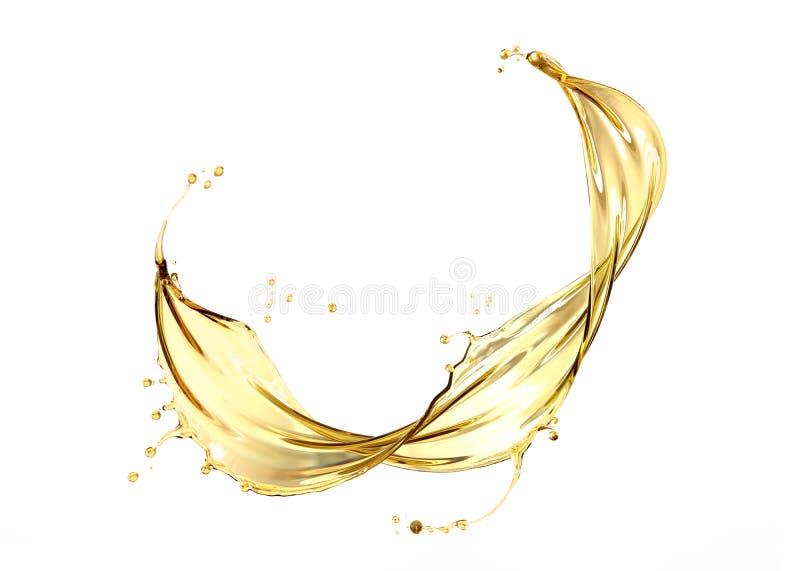 Liquido cosmetico dorato della spruzzata dell'olio per motori o dell'oliva fotografia stock libera da diritti