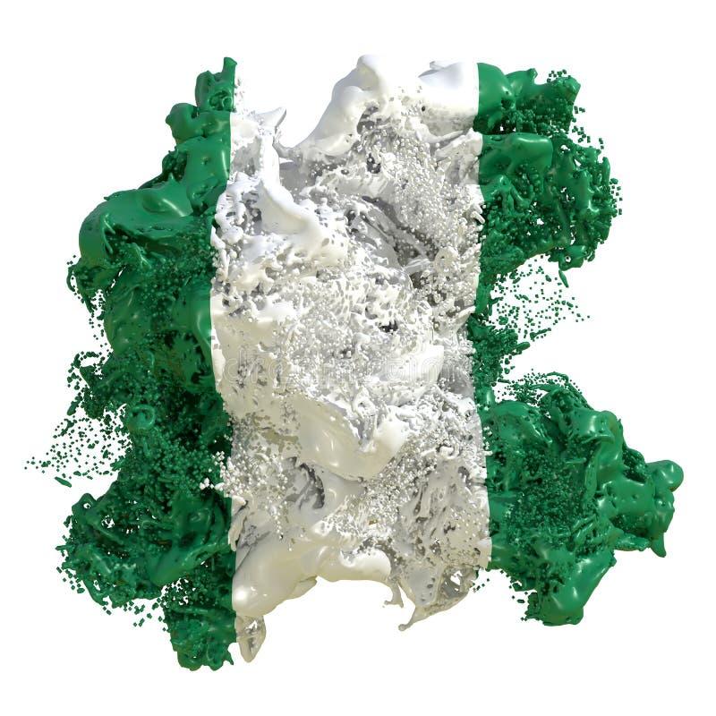 Liquido della bandiera della Nigeria illustrazione vettoriale