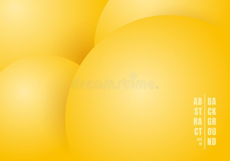 Liquido realistico astratto 3D o fondo giallo di colore di pastelli dei cerchi fluidi bello illustrazione di stock