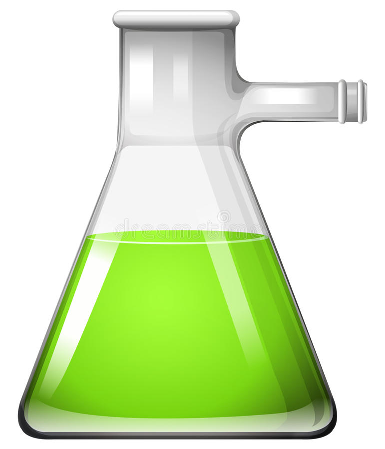 Liquido verde in becher di vetro illustrazione vettoriale