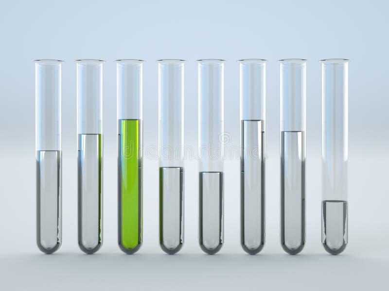 Liquido verde in provette su fondo bianco royalty illustrazione gratis