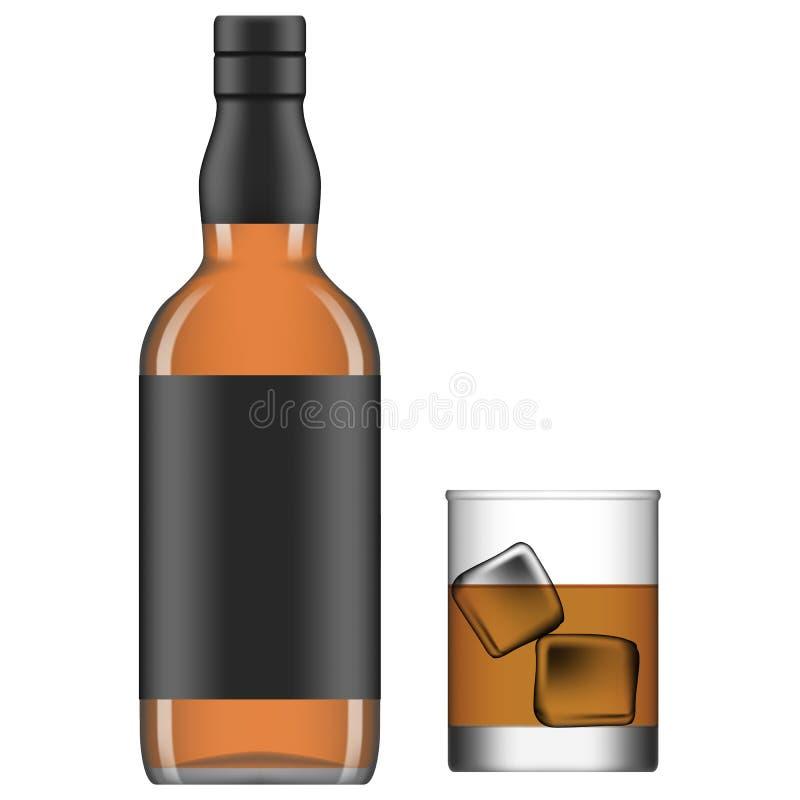 Liquor. Layered vector illustration of isolated glass and bottle of liquor stock illustration
