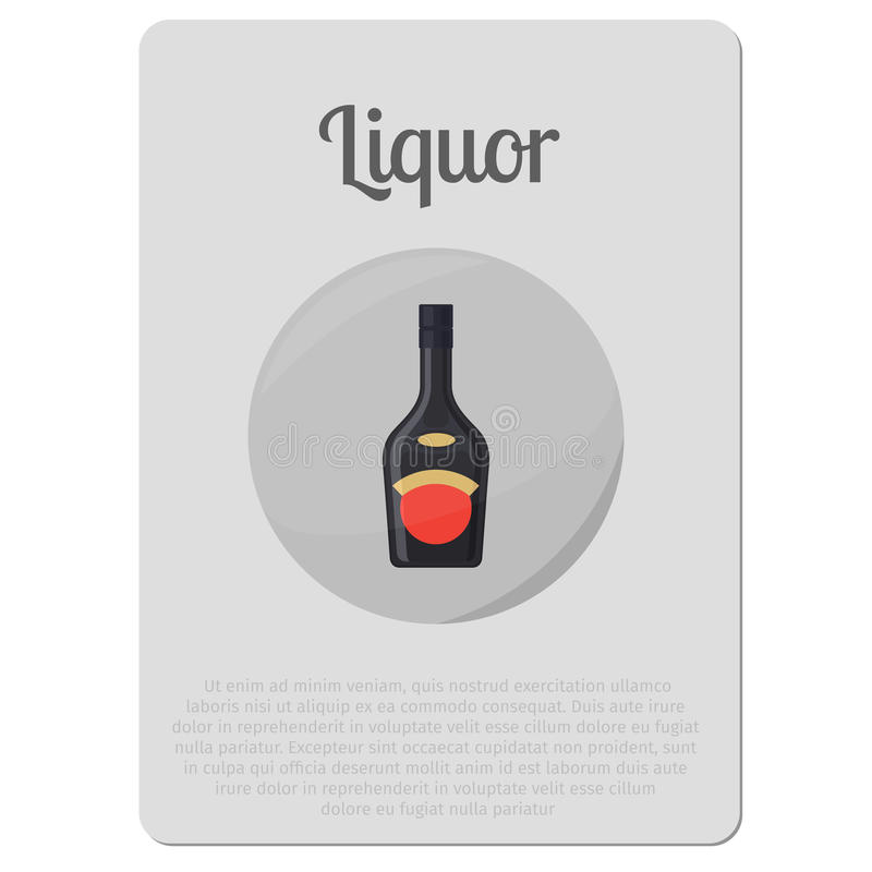 Liquor alcohol bottle sticker. Liquor alcohol. Sticker with bottle and description vector illustration royalty free illustration