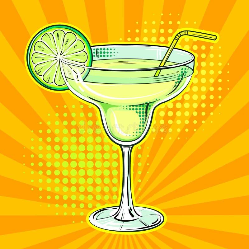 Liquor alcohol cocktail pop art vector. Liquor alcohol cocktail Margarita pop art hand drawn vector illustration vector illustration