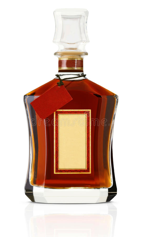Liquor bottle. Bottle of liquor or alcohol with blank label isolated on white background royalty free stock photography