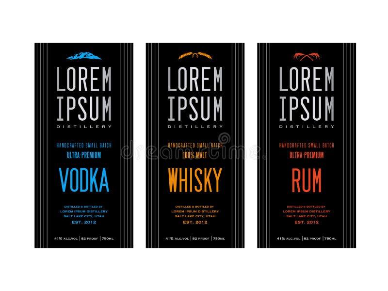 Liquor bottle label designs. For vodka, whisky whiskey and rum royalty free illustration