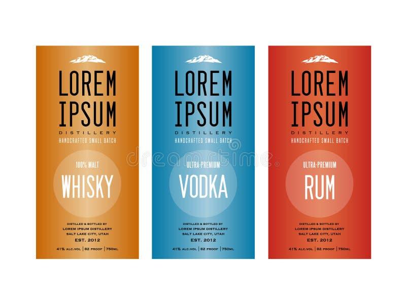 Liquor bottle label designs. For vodka, whisky whiskey and rum vector illustration