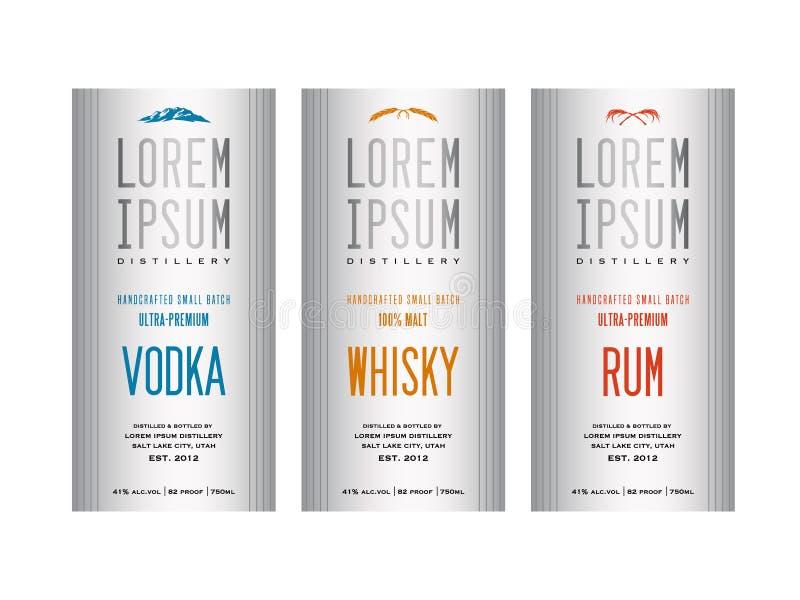 Liquor bottle label designs. For vodka, whisky whiskey and rum stock illustration