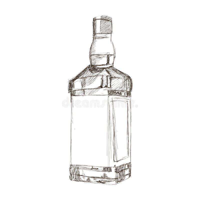 liquor bottle sketch icon vector illustration