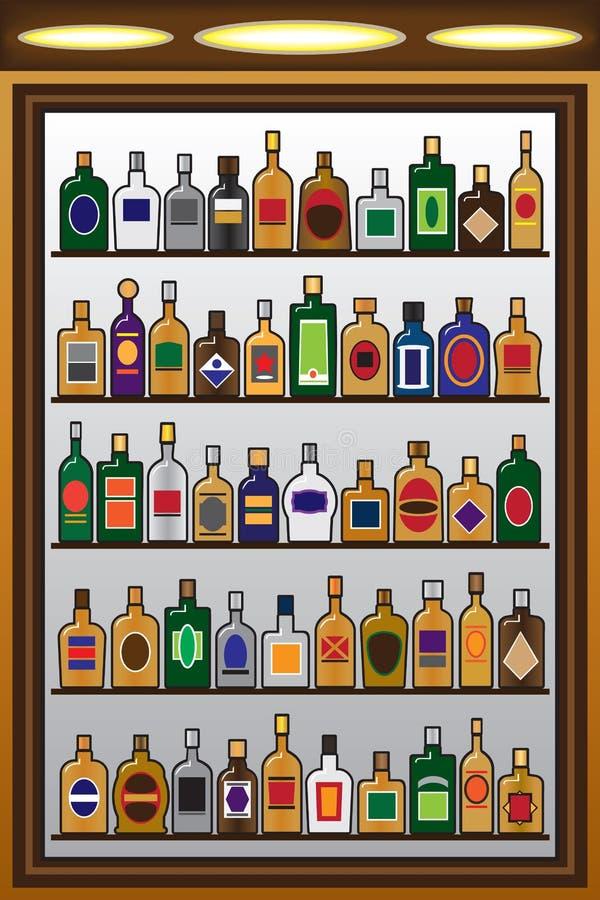 Liquor Bottles. Five rows of liquor bottles in a drinking establishment vector illustration