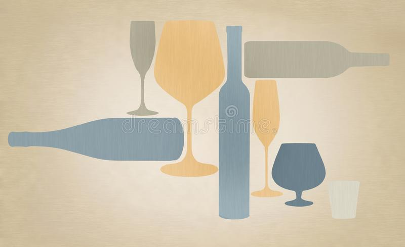Liquor bottles and glassware are seen silhouetted in color in this background illustration. This is an illustration royalty free illustration