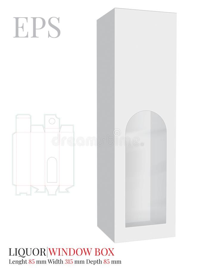 Liquor Box Template, Vector with die cut / laser cut layers.  White, clear, blank, isolated Liquor Box with window mock up. Isolated on white background stock illustration