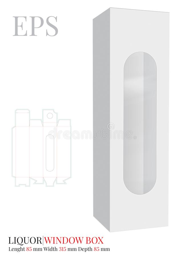 Liquor Box Template, Vector with die cut / laser cut layers.  White, clear, blank, isolated Liquor Box with window mock up. Isolated on white background vector illustration