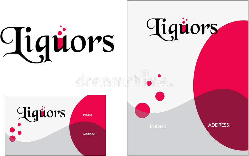 Liquor Logo, Business Card 2 x 3.5, Flyer 4.25 x 5.5. Liquor or restaurant with liquor bottles and glasses horizontal retro royalty free illustration