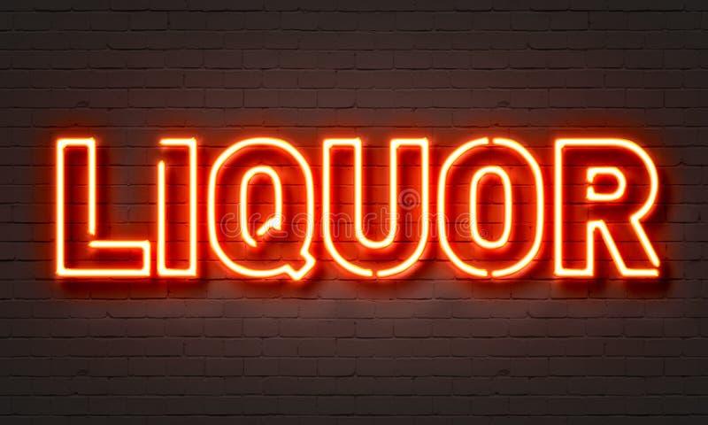 Liquor neon sign. On brick wall background stock illustration