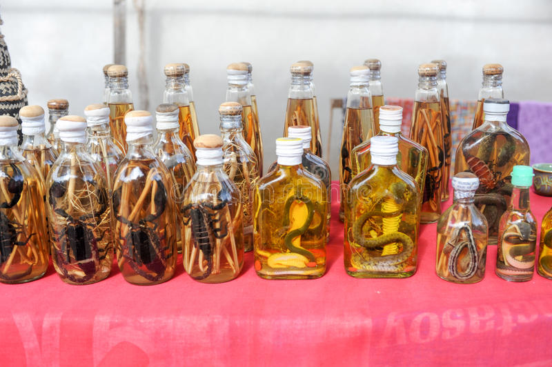 Liquor with snake and scorpion inside stock photo