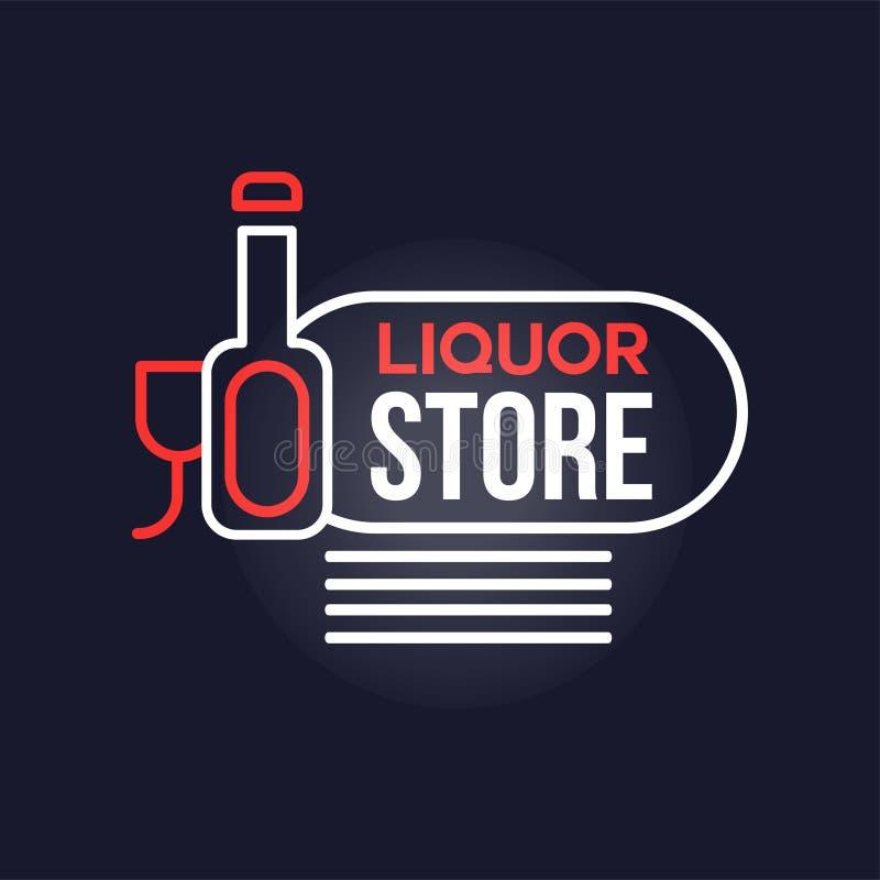 Liquor store neon sign, vintage bright glowing signboard, light banner vector Illustration. Web design royalty free illustration