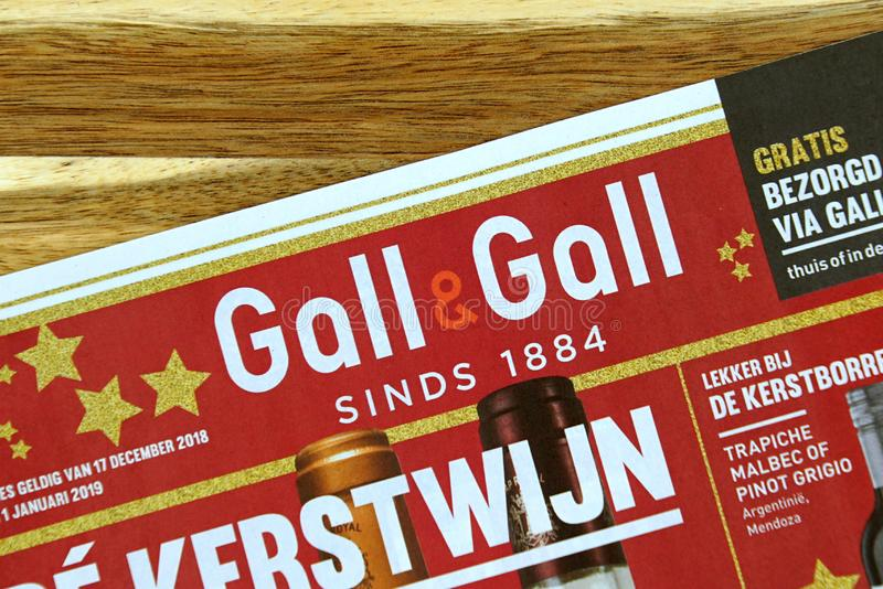 Liquor store sale flyer of Dutch Liquor store chain Gall en Gall. Amsterdam, the Netherlands - December 16, 2018: Dutch Liquor store sale flyer or advertising stock images