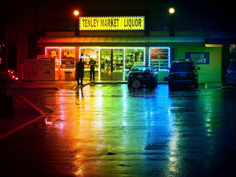 Liquor Store on a Wet Rainy Night royalty free stock photos