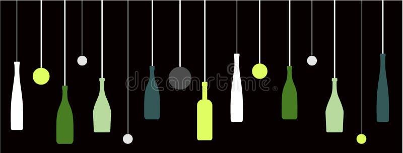 Liquor Wine Bottles with Bubbles. Liquor or restaurant with liquor bottles hanging on strings stock illustration