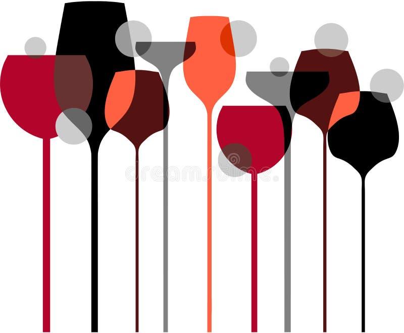 Liquor Wine Glasses with Bubbles Background. Liquor or restaurant with liquor bottles and glasses horizontal retro stock illustration