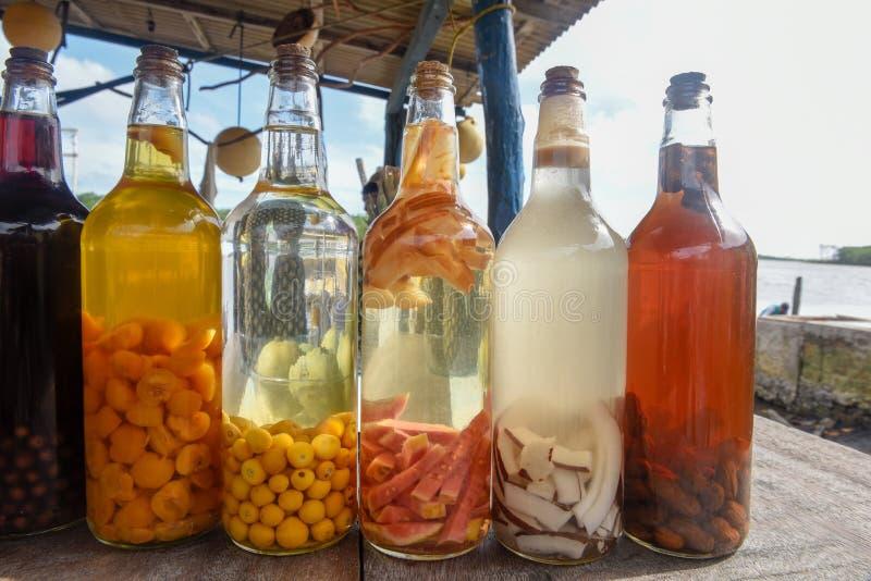 Liquore casalingo in bottiglia di vetro a Atins, Brasile fotografia stock libera da diritti