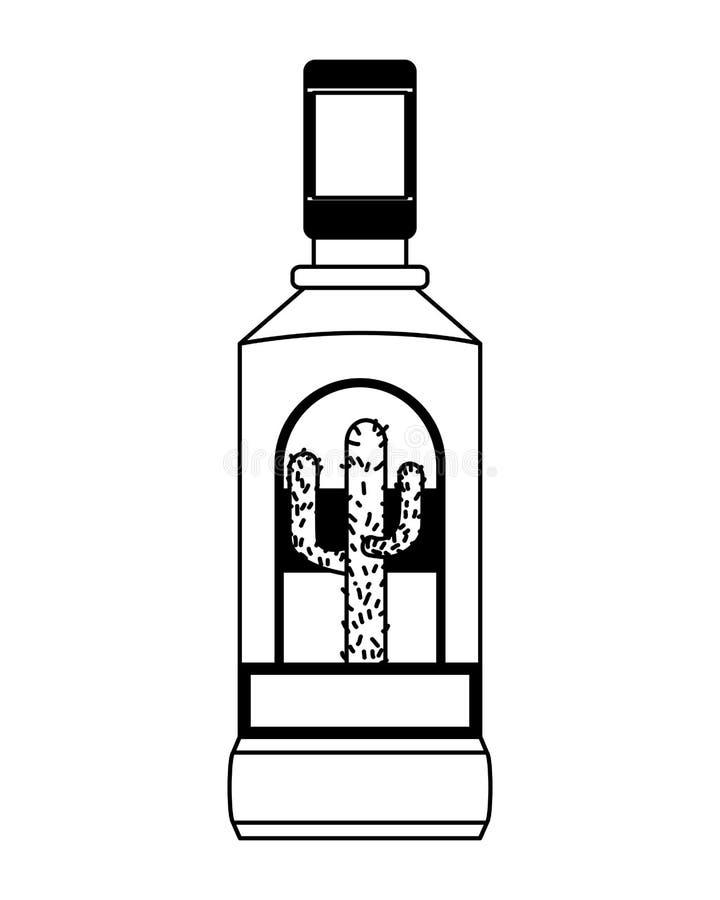 Liquore della bottiglia di tequila illustrazione vettoriale