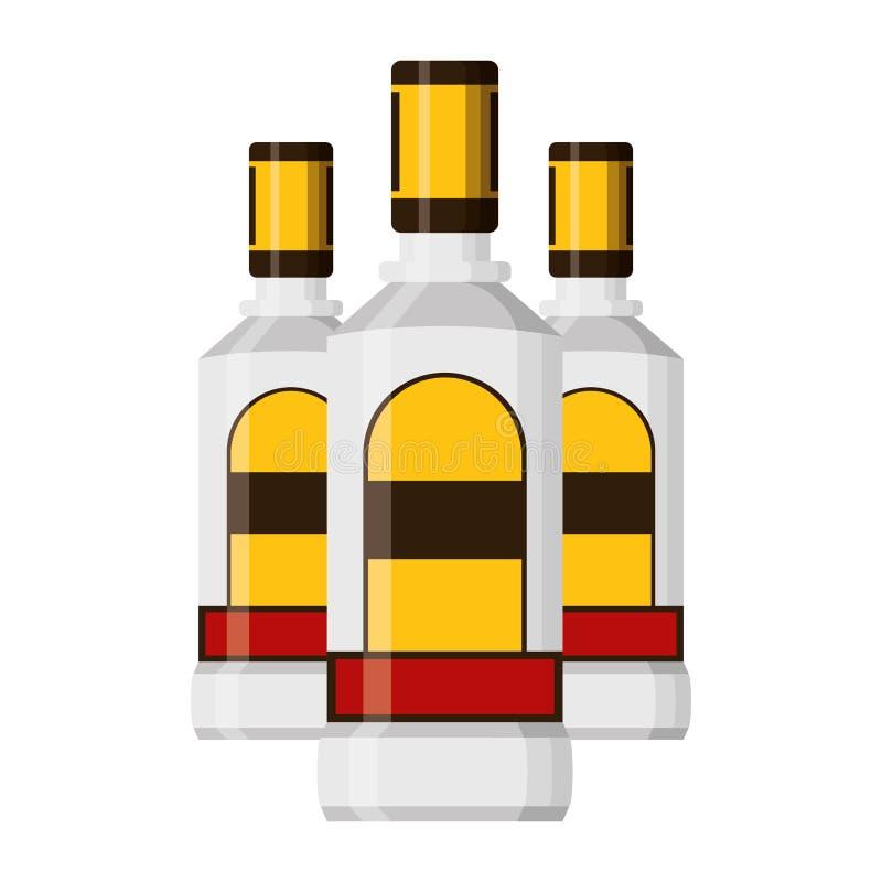 Liquore delle bottiglie di tequila illustrazione di stock