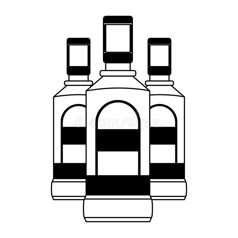 Liquore delle bottiglie di tequila royalty illustrazione gratis